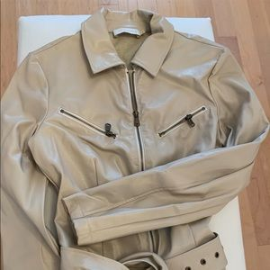 Faux beige leather utility jumpsuit